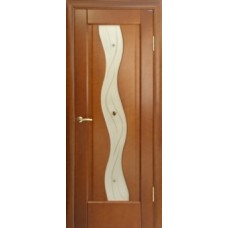 Стекло в двери Волна белое / бронза